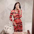 Dress Autumn of 2019 Color matching S,M,L,XL longuette singleton  three quarter sleeve commute V-neck High waist other Big swing Others 18-24 years old Korean version Bow tie