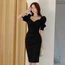 Dress Spring 2021 Black, red S,M,L,XL Mid length dress singleton  Short sleeve commute V-neck High waist Solid color zipper One pace skirt puff sleeve 25-29 years old Type H Korean version Pleated, zipper