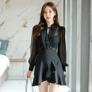 Dress Autumn 2020 black S,M,L,XL Short skirt singleton  Long sleeves commute V-neck High waist Solid color zipper Ruffle Skirt routine 18-24 years old Korean version Ruffle, lace up, stitching, zipper