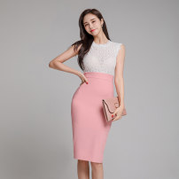 Dress Summer 2020 White powder S,M,L,XL Mid length dress singleton  Sleeveless commute Crew neck High waist Solid color zipper One pace skirt routine 18-24 years old Korean version Backless, stitching, zipper, lace