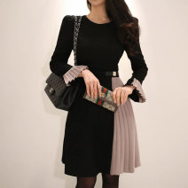 Dress Winter of 2018 Picture color S,M,L,XL Mid length dress singleton  Long sleeves commute Crew neck High waist Solid color zipper Pleated skirt pagoda sleeve Others 18-24 years old Korean version Ruffle, stitching, zipper