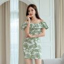 Dress Summer 2020 green S,M,L,XL Short skirt singleton  Short sleeve commute One word collar High waist Decor zipper One pace skirt Lotus leaf sleeve 18-24 years old Korean version Ruffle, open back, stitching, zipper