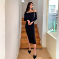 Dress Spring 2021 black S,M,L,XL longuette singleton  Long sleeves commute One word collar High waist Solid color zipper One pace skirt routine 25-29 years old Type H Korean version