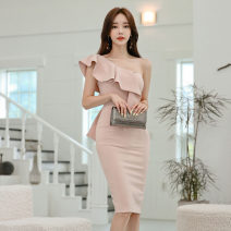 Dress Summer 2020 Red, naked pink S,M,L,XL Mid length dress singleton  Sleeveless commute Slant collar High waist Solid color zipper Pencil skirt Lotus leaf sleeve 18-24 years old Korean version Ruffle, open back, stitching, asymmetric, zipper