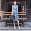 Dress Summer 2020 blue S,M,L,XL Mid length dress singleton  Sleeveless commute stand collar High waist Decor Single breasted Pencil skirt Others 18-24 years old Korean version