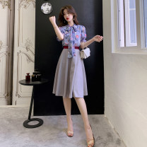 Dress Summer of 2019 Picture color S,M,L,XL Mid length dress Two piece set Short sleeve commute Decor zipper A-line skirt Others 18-24 years old Korean version Bow, ruffle, lace, print