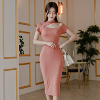 Dress Summer 2020 Pink S,M,L,XL Mid length dress singleton  Short sleeve commute Crew neck High waist Solid color Socket One pace skirt routine Others 18-24 years old Korean version Hollowing out