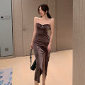 Dress Winter 2020 Black, brown S,M,L longuette singleton  Sleeveless commute One word collar High waist Solid color zipper One pace skirt routine camisole 18-24 years old Korean version Inlaid diamond, open back, chain, fold, stitching, zipper