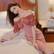 Dress Spring 2021 Pink S,M,L Short skirt singleton  Short sleeve commute One word collar High waist Solid color zipper One pace skirt puff sleeve camisole 18-24 years old Type A Korean version Cut out, open back, zipper