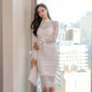 Dress Spring 2021 White, black S,M,L,XL Mid length dress singleton  Long sleeves commute stand collar High waist Solid color zipper One pace skirt pagoda sleeve 25-29 years old Type H Korean version Bowknot, stitching, zipper, lace