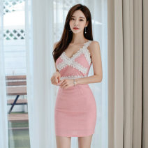 Dress Summer 2020 Pink S,M,L,XL Short skirt singleton  Sleeveless commute V-neck High waist Solid color zipper One pace skirt routine camisole 18-24 years old Korean version Backless, stitching, zipper, lace