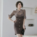 Dress Spring 2021 Brown S,M,L,XL Short skirt singleton  three quarter sleeve commute V-neck High waist Solid color zipper One pace skirt routine 25-29 years old Type H Korean version Pockets, panels, buttons