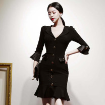 Dress Spring 2020 black S,M,L,XL Middle-skirt singleton  three quarter sleeve commute V-neck High waist Solid color zipper Ruffle Skirt Others 18-24 years old Korean version Ruffles, pockets, stitching, buttons, zippers