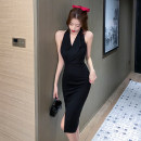 Dress Summer 2021 black S,M,L Mid length dress singleton  Sleeveless commute V-neck High waist Solid color zipper One pace skirt routine Hanging neck style 18-24 years old Korean version Ruffle, open back, stitching, zipper