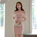Dress Summer of 2018 Pink S M L XL Short skirt singleton  Short sleeve commute One word collar High waist Solid color zipper Pencil skirt Others 18-24 years old Korean version Fold asymmetric zipper
