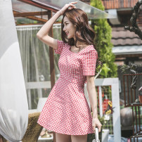 Dress Summer of 2019 Picture color S,M,L,XL Short skirt singleton  Short sleeve commute Crew neck High waist lattice zipper A-line skirt Others 18-24 years old Korean version Bow, open back, stitching, zipper