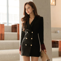 Dress Fall 2017 Black, dark green S,M,L,XL Short skirt singleton  Long sleeves commute V-neck High waist Solid color double-breasted Pencil skirt Others 18-24 years old Korean version Button, button