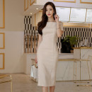 Dress Summer of 2018 Picture color S,M,L,XL Mid length dress singleton  Short sleeve commute One word collar High waist Solid color zipper Pencil skirt Others 18-24 years old Korean version zipper