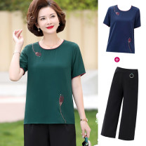 Middle aged and old women's wear Summer 2021 XL (90-110 kg recommended), 2XL (110-120 kg recommended), 3XL (120-135 kg recommended), 4XL (135-145 kg recommended), 5XL (145-160 kg recommended) fashion suit easy Two piece set Flower and bird pattern 40-49 years old Socket thin Crew neck routine