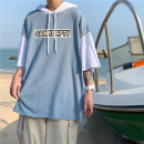 T-shirt other Black, blue routine S. M, l, XL, 2XL, XS plus small Others elbow sleeve Hood easy Other leisure summer youth 2021