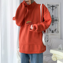 Sweater Youth fashion Others Grey, red M. L, s, XL, 2XL, 3XL, XS plus small, 4XL, 5XL Solid color Socket routine Hood spring easy leisure time youth Basic public raglan sleeve Cotton polyester other other Mingji thread patch bag