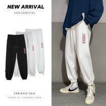 Casual pants Others Youth fashion White, gray, black S. M, l, XL, 2XL, XS plus small routine trousers Other leisure easy Micro bomb winter teenagers tide 2021 Medium low back Little feet Sports pants