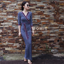 Dress Summer of 2019 Dandelion_ Long, 3052 blue and white plaid S,M,L,XL,2XL longuette singleton  three quarter sleeve commute V-neck Loose waist Decor other A-line skirt Breast wrapping 30-34 years old Type A Korean version Bows, bandages, prints