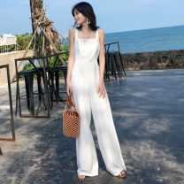 Casual pants white S,M,L,XL Summer 2021 trousers Wide leg pants High waist 18-24 years old