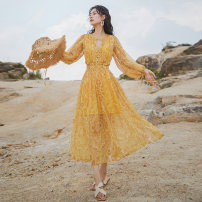 Dress Summer 2021 S,M,L,XL longuette singleton  Nine point sleeve Sweet Crew neck High waist Decor Socket Big swing puff sleeve Others Type A Hollowing out Chiffon Bohemia