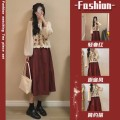 Women's large Summer 2021 One piece top single brick red skirt top + skirt two piece suit Dress Two piece set commute easy moderate Socket Long sleeves Pure color plant flowers Korean version Crew neck routine Three dimensional cutting routine ljC2 Savirry / shafeli Embroidery Medium length other