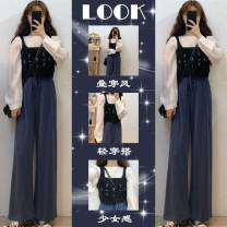 Women's large Spring 2021 Top + sling + wide leg pants three piece set [women's 2021 new fashion / gentle wear with winter clothes / 2021 spring women's clothes / spring suit women] Other oversize styles Three piece set commute easy moderate Socket Long sleeves Pure color plant flowers Korean version