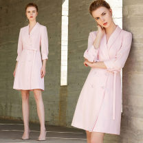 Dress Summer 2020 Pink dress S,M,L,XL Middle-skirt singleton  three quarter sleeve commute V-neck middle-waisted Solid color double-breasted One pace skirt routine Others 25-29 years old Type H AD Ol style 202156Q1 More than 95% polyester fiber