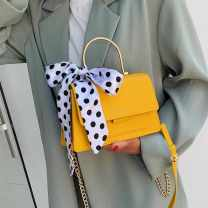 Bag The single shoulder bag PU Small square bag Other / other brand new Japan and South Korea Small leisure time soft Magnetic buckle no Solid color Single root One shoulder cross carry nothing youth Horizontal square chain Hard handle polyester fiber Zipper sandwich pocket soft surface