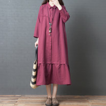 Dress Autumn of 2019 claret M,L,XL,2XL Mid length dress singleton  Nine point sleeve commute Polo collar Loose waist Solid color routine Others 35-39 years old Type A Other / other literature Pockets, panels, buttons 51% (inclusive) - 70% (inclusive) cotton