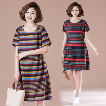 Dress Summer 2021 M,L,XL,2XL Mid length dress singleton  Short sleeve commute Crew neck Loose waist stripe Socket A-line skirt routine Others 30-34 years old Type A Other / other literature Splicing 51% (inclusive) - 70% (inclusive) cotton