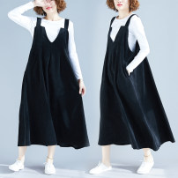 Dress Spring 2020 black Average size [100-180 Jin] Mid length dress singleton  Sleeveless commute V-neck Loose waist Solid color Socket A-line skirt other straps 25-29 years old Type A Other / other literature 81% (inclusive) - 90% (inclusive) corduroy cotton