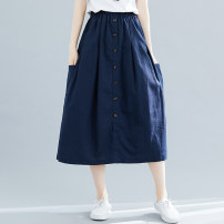 skirt Summer of 2019 Average size Khaki, Navy Mid length dress Versatile High waist A-line skirt Solid color Type A 25-29 years old 71% (inclusive) - 80% (inclusive) other Other / other cotton Button