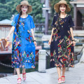 Dress Summer of 2019 Sapphire blue, red, green, navy blue, yellow M,L,XL,2XL,3XL Mid length dress singleton  Short sleeve commute Crew neck Loose waist other Socket A-line skirt routine Others 35-39 years old Type A Other / other ethnic style Pocket, print 71% (inclusive) - 80% (inclusive) other