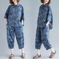 Fashion suit Summer of 2019 One size fits all Blue flower suit 25-35 years old Other / other 51% (inclusive) - 70% (inclusive) cotton