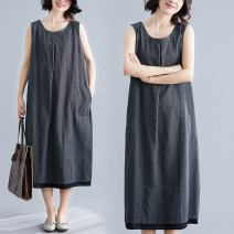 Women's large Summer 2021 black Large XL [100-140 kg], large 2XL [140-180 kg] Dress singleton  commute easy moderate Socket Sleeveless stripe literature Crew neck Cotton, hemp Three dimensional cutting Other / other 25-29 years old pocket 51% (inclusive) - 70% (inclusive) Medium length other