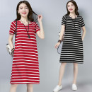 Women's large Summer 2021 Dress singleton  commute easy thin Socket Short sleeve stripe Korean version Crew neck cotton routine Other / other 25-29 years old pocket 96% and above Medium length