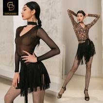 Latin dance practice set Black snake dancebaby female S M L XL YS298 Long sleeves Remba Chacha Samba cowboy bullfight Winter 2020