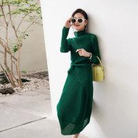 Fashion suit Spring 2021 XS,S,M,L,XL Black top, ultramarine green top, haze Lavender top, black skirt, ultramarine green skirt, haze Lavender skirt E31842/B31843 96% and above polyester fiber