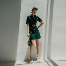 Dress Autumn 2020 London Green XS,S,M,L,XL Mid length dress singleton  Short sleeve commute Polo collar middle-waisted Solid color Single breasted routine Others Dimple Hsu Simplicity corduroy Q30792 More than 95% corduroy cotton