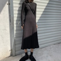 Dress Winter 2020 S,M,L Mid length dress singleton  Long sleeves commute Crew neck High waist Solid color Socket A-line skirt routine Others 18-24 years old Type A Korean version 81% (inclusive) - 90% (inclusive) knitting other