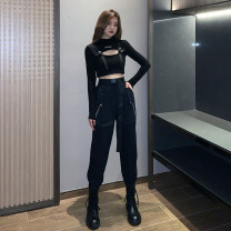 Casual pants Jacket, black trousers (belt chain), jacket + black trousers (belt chain) S,M,L,XL Autumn 2020 trousers Overalls High waist street routine 18-24 years old 81% (inclusive) - 90% (inclusive) other chain Hip hop