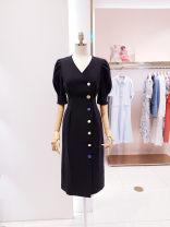 Dress Summer 2021 black S,M,L,XL singleton  Short sleeve commute V-neck Solid color Single breasted routine Others Type H Korean version Pocket, button, zipper