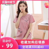 Nightdress Ansdream M L XL XXL XXXL Cartoon Short sleeve Leisure home Middle-skirt summer Cartoon animation youth Crew neck cotton printing More than 95% Knitted cotton fabric Summer of 2018 Cotton 100% Pure e-commerce (online only) Cotton 100%