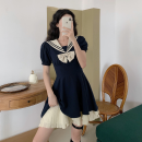 Dress Summer 2021 S, M Middle-skirt singleton  Short sleeve commute Admiral High waist Socket A-line skirt routine Others 18-24 years old Type A Korean version