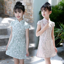 Dress Summer 2021 Red flower, pink plum, green plum, happy The recommended height is 115cm for Size 120, 125cm for Size 130, 135cm for size 140, 145cm for size 150 and 155cm for size 160 Middle-skirt singleton  Short sleeve other Others Under 17 Type A Other 81% (inclusive) - 90% (inclusive) other
